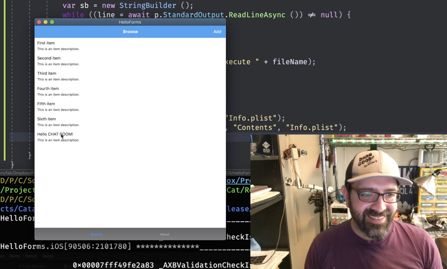 Screenshot of me on Twitch running a Xamarin.Forms app on Mac Catalyst